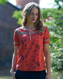 Ryan Michael Red Southwest Print Artisan Top, , hi-res