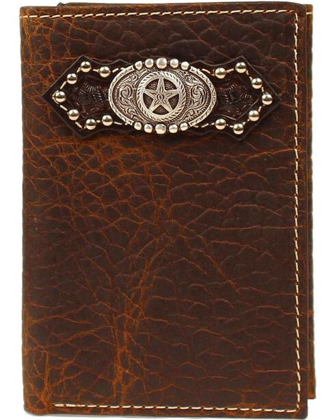 Ariat Fancy Star Conch & Studs Tri-fold Wallet, Brown, hi-res