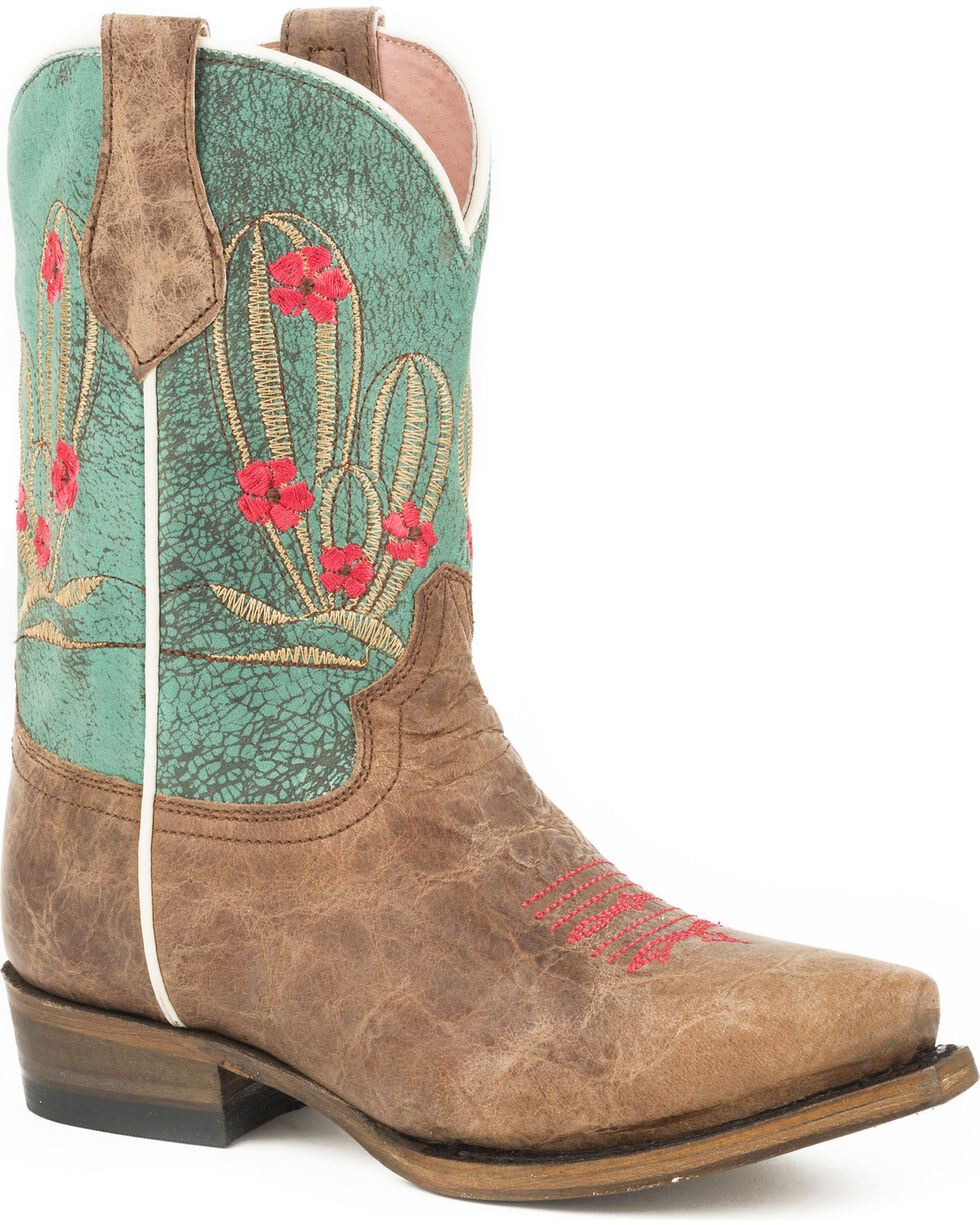 Roper Girls' Cactus Cutie Burnished Brown/Turquoise Cowgirl Boots - Snip Toe, Brown, hi-res