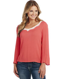 Cowgirl Up Women's Lace Trim Long Sleeve Top, , hi-res
