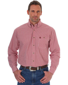 Wrangler Men's Red George Strait Print Long Sleeve Shirt , Red, hi-res