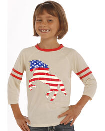 Rock & Roll Cowgirl Girls' Natural American Flag Horse Baseball Tee, , hi-res