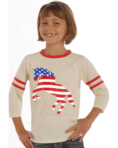 Rock & Roll Cowgirl Girls' Natural American Flag Horse Baseball Tee, Natural, hi-res