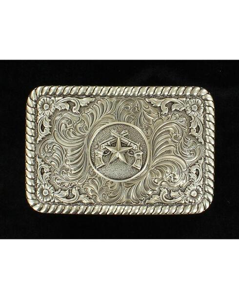 PBR Men's Western Floral Belt Buckle, Silver, hi-res