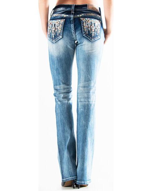 Grace in LA Women's Medium Blue Embellished Flat Pocket Jeans - Boot Cut , Medium Blue, hi-res
