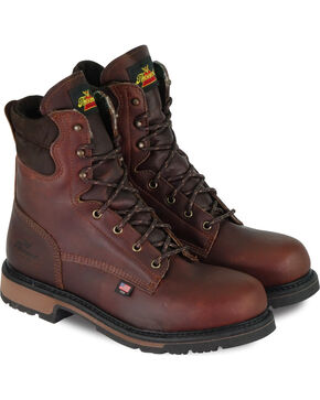 "Thorogood Men's American Heritage Classics 8"" Work Boots - Steel Toe, Dark Brown, hi-res"