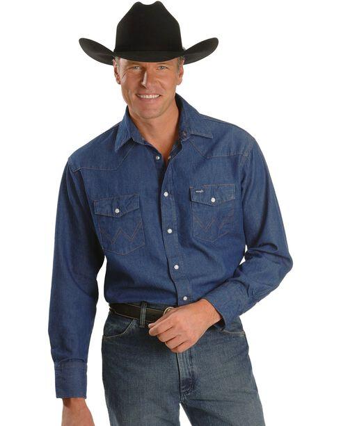 Wrangler Men's Cowboy Cut Work Denim Shirt, Denim, hi-res