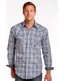 Rough Stock by Panhandle Blue Northridge Ombre Plaid Snap Shirt, , hi-res