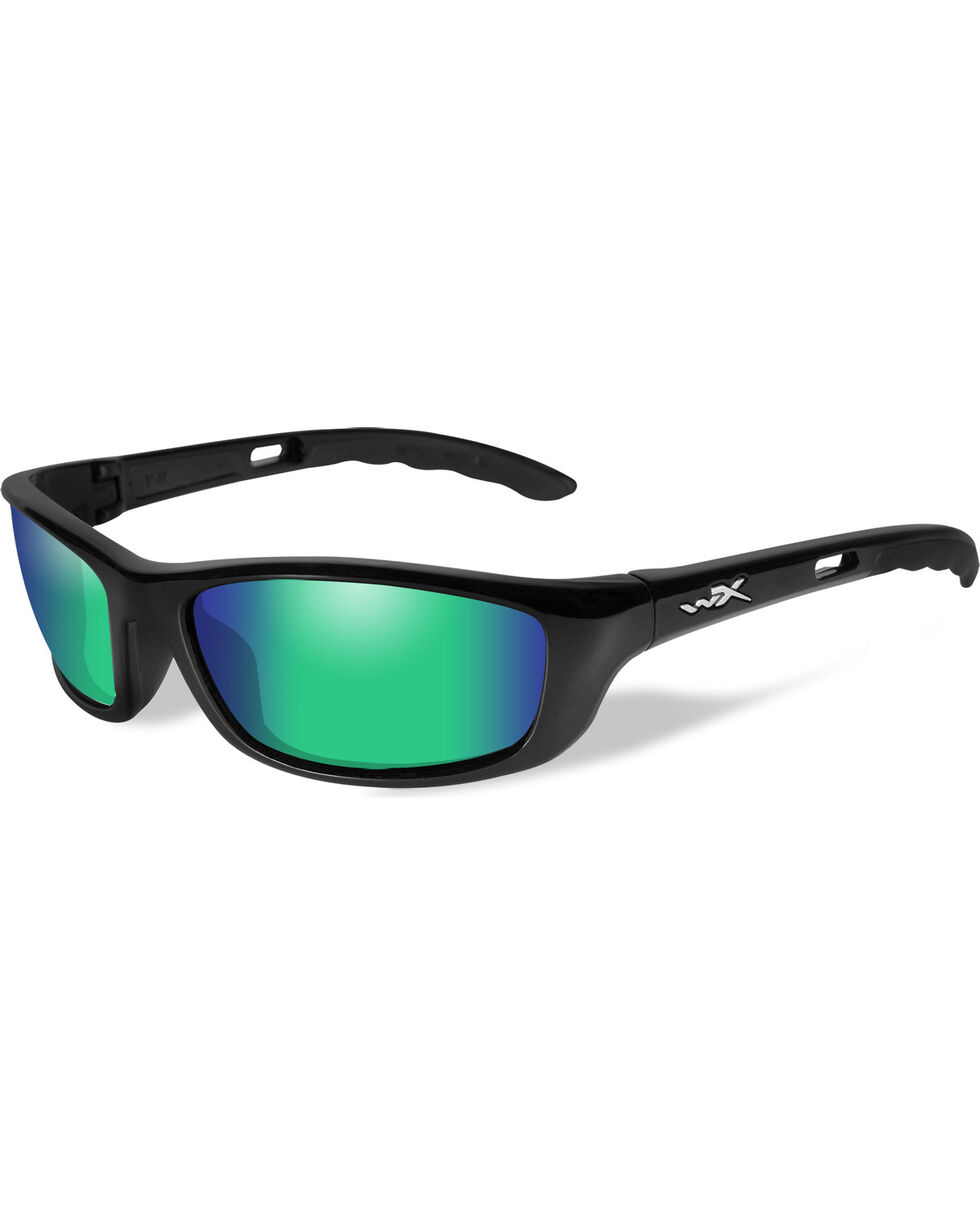 Wiley X P-17 Polarized Emerald Gloss Black Sunglasses , Black, hi-res