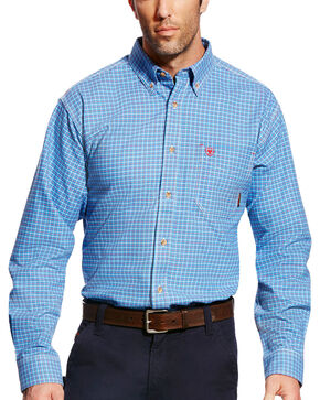 Ariat Men's FR Oliver Long Sleeve Plaid Work Shirt - Big & Tall, Blue, hi-res