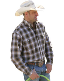 Cinch Men's Brown Plaid Double Pocket Western Shirt , , hi-res