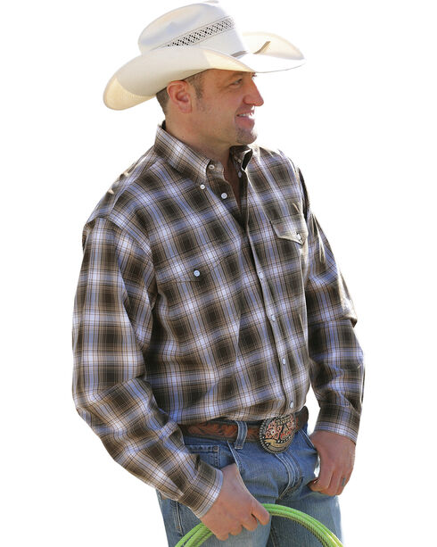 Cinch Men's Brown Plaid Double Pocket Western Shirt , Brown, hi-res