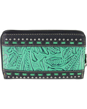 Montana West Trinity Ranch Black Tooled Design Wallet, Black, hi-res