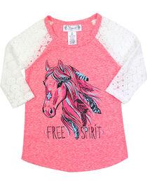 Shyanne® Girls' Free Spirit Lace Long Sleeve Shirt, , hi-res