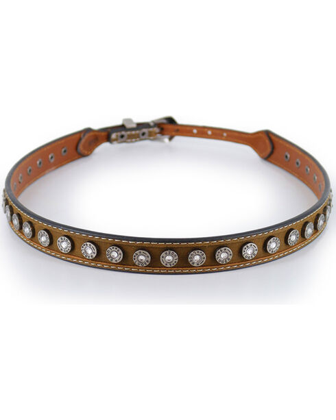 Cody James® Silver Conchos and Crystals Hatband, Brown, hi-res