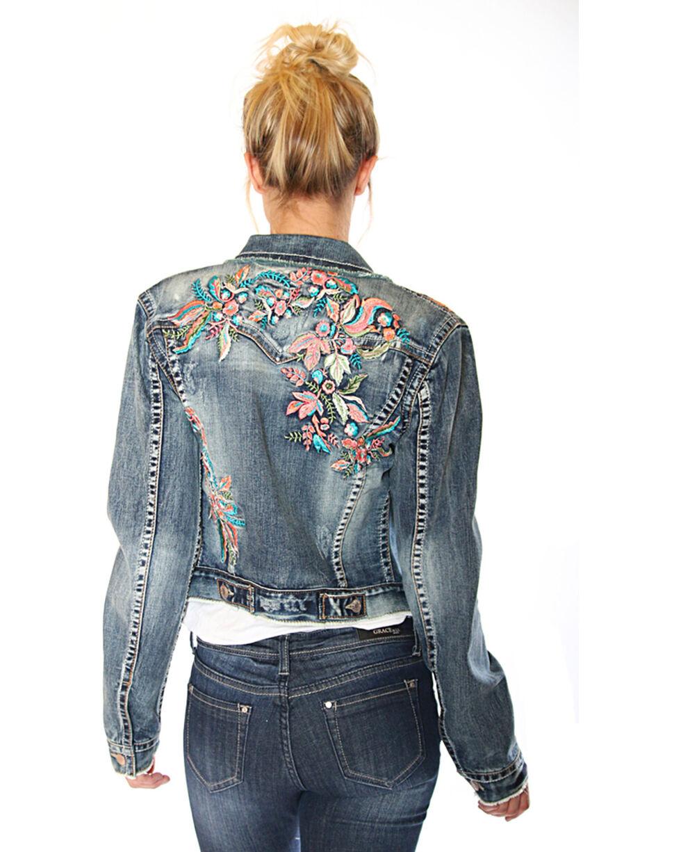 Grace in LA Women's Floral Embroidery Denim Jacket, , hi-res
