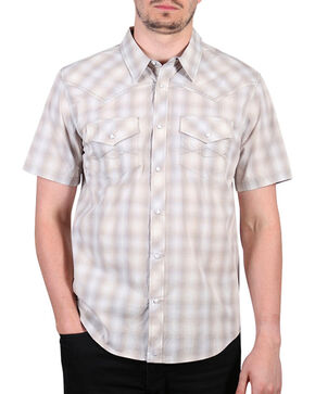 Cody James® Men's Salerno Short Sleeve Western Shirt, Khaki, hi-res