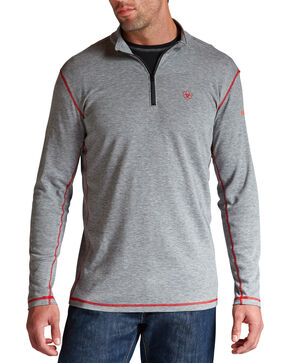 Ariat Flame Resistant Polartec 1/4 Zip Baselayer Shirt - Big and Tall, Hthr Grey, hi-res