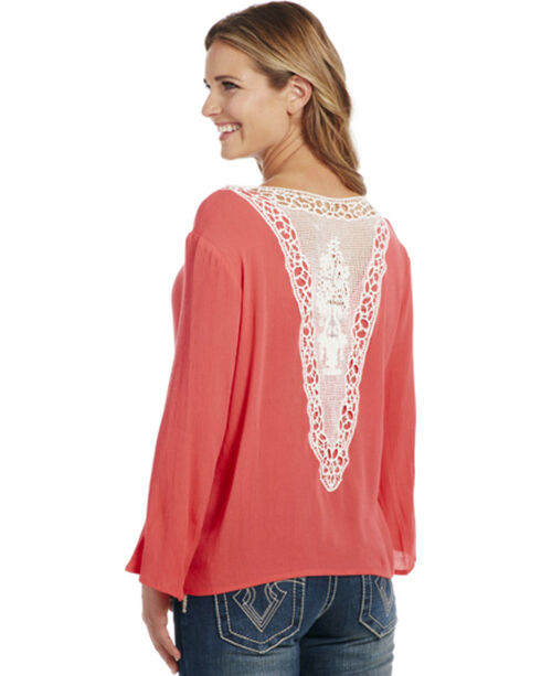 Cowgirl Up Women's Lace Trim Long Sleeve Top, Red, hi-res