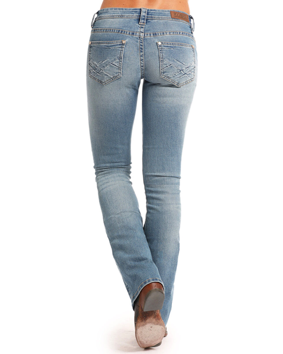 Rock & Roll Cowgirl Women's Rival Low Rise Boot Cut Jeans, Blue, hi-res