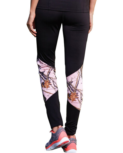 Wilderness Dreams Black and Pink Mossy Oak Break-Up Active Tights, Black, hi-res