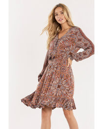 Miss Me Women's Sunflower Lace-Up Dress, , hi-res