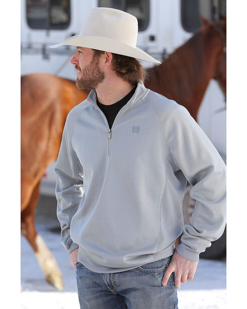Cinch Men's Grey Sweater Fleece 1/4 Zip Pullover, Grey, hi-res