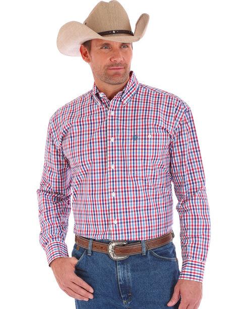 Wrangler Men's George Straight  Plaid Americana Long Sleeve Shirt, Am Spirit, hi-res