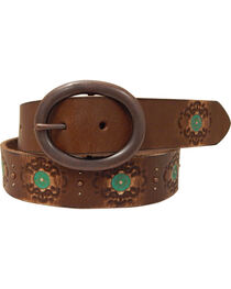 Roper Women's Brown Hand Paint Leather Belt, , hi-res