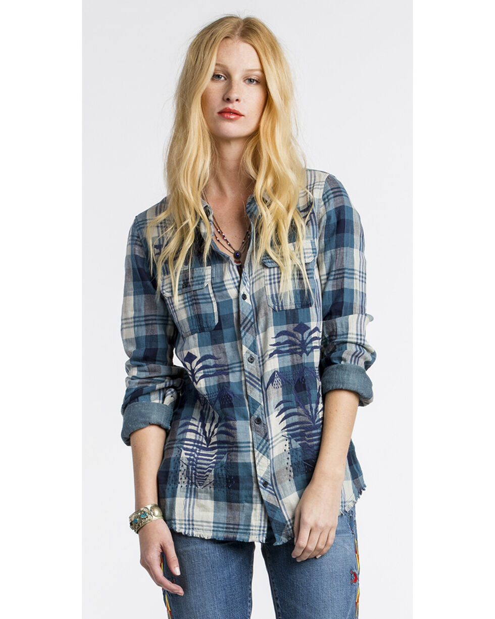 MM Vintage Women's Embroidered Plaid Button Down Shirt, Blue, hi-res