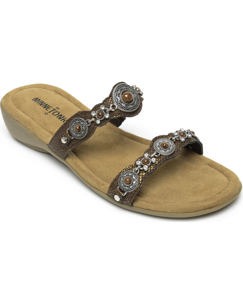 Minnetonka Women's Boca Slide III Strap Sandals, Bronze, hi-res