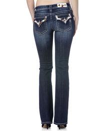 Miss Me Women's Cowhide Trim Mid Rise Jeans - Boot Cut, , hi-res