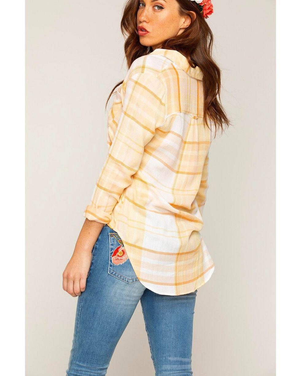 Shyanne Women's Yellow Striped Plaid Long Sleeve Shirt, Yellow, hi-res