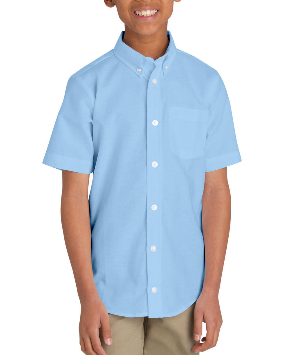 Dickies Boys' Oxford Short Sleeve Shirt - 10-16, Light Blue, hi-res