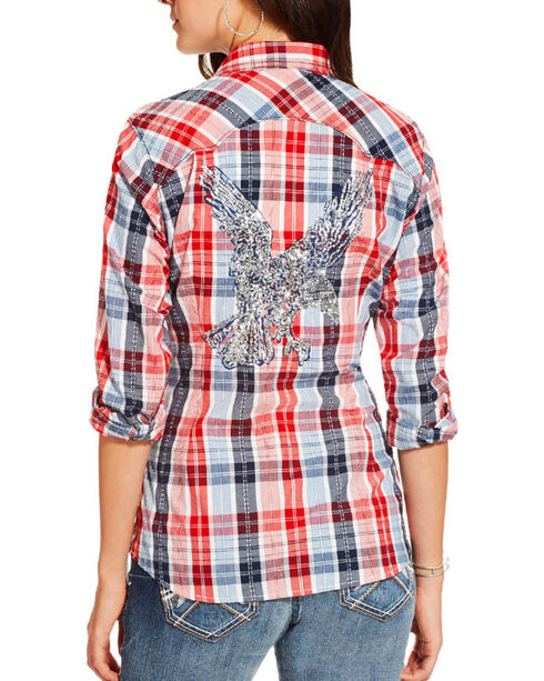 Ariat Women's Eagle Plaid Long Sleeve Shirt, Multi, hi-res