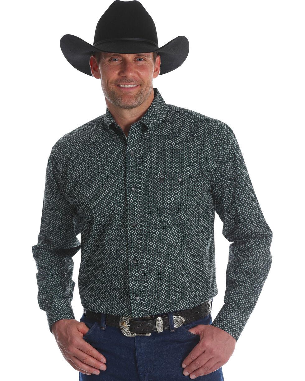 Wrangler Men's Classics Poplin Print Button Down Shirt, Green, hi-res