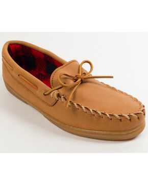 Minnetonka Genuine Moose with Fleece Lining Moccasins, Natural, hi-res