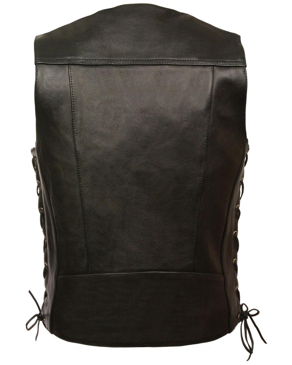 Milwaukee Leather Men's Buffalo Snap Side Lace Vest - Big, Black, hi-res