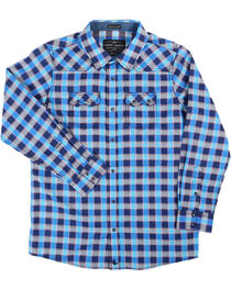 Cody James® Boys' Plaid Western Long Sleeve Shirt, Blue, hi-res