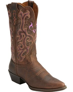 Justin Women's Snip Toe Western Boots, Chocolate, hi-res