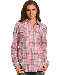 Wrangler Women's Pink Flannel Plaid Shirt , , hi-res