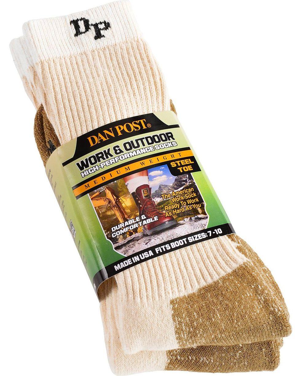 Dan Post Men's 2 Pack Mid-Calf Steel Toe Work & Outdoor Socks, Natural, hi-res