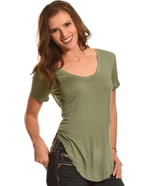 Derek Heart Women's Deep V-Neck Oversize Tee - Plus Size, Olive, hi-res