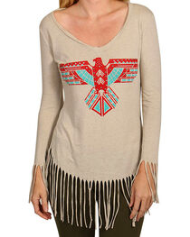 Rock & Roll Cowgirl Women's Eagle & Fringe Long Sleeve Shirt, , hi-res