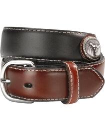 Nocona Boys' Steer Head Concho Leather Belt - 18-28, , hi-res