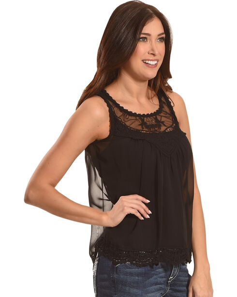 Panhandle Women's Black Chiffon Overlay Tank , Black, hi-res