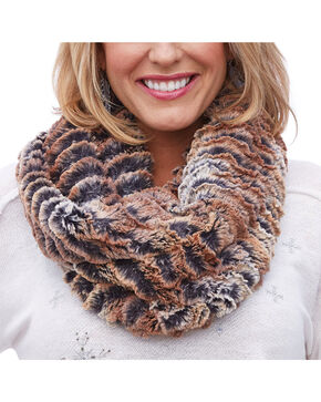 Shyanne® Women's Striped Faux Fur Eternity Scarf, Brown, hi-res