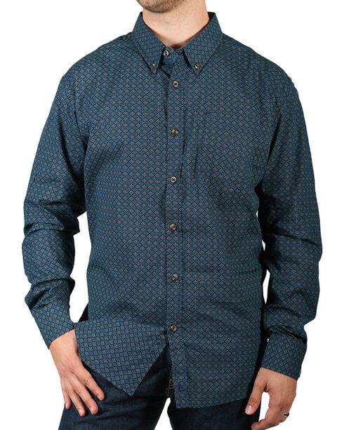 Cody James Men's Gravel Long Sleeve Print Western Shirt, Navy, hi-res