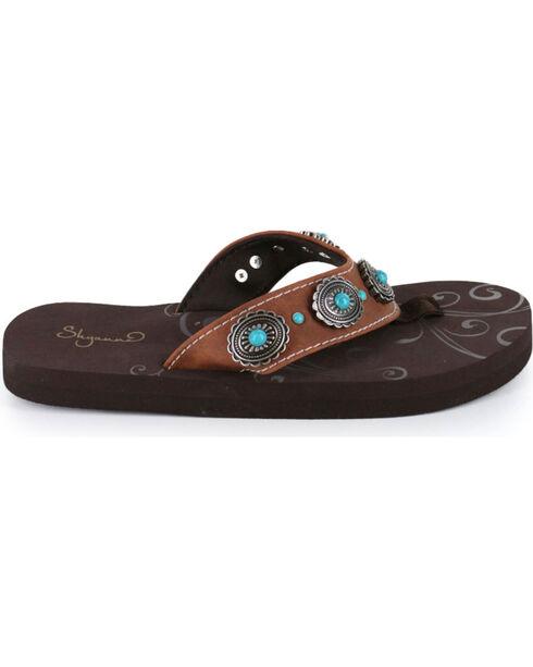 Shyanne® Women's Concho Sandals, Brown, hi-res