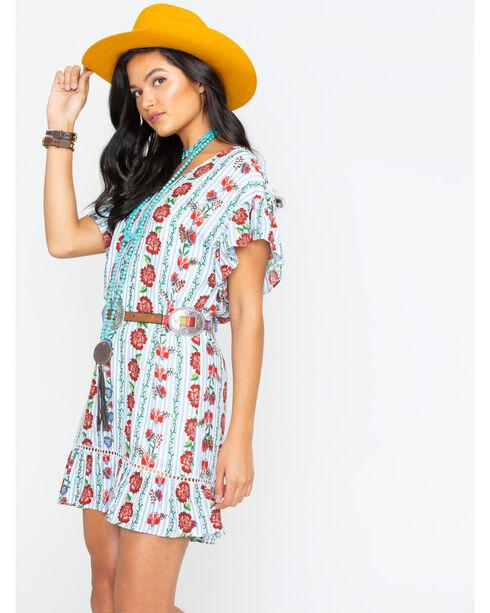 Miss Me V-Neck Floral Print Dress with Tie Back, Blue, hi-res